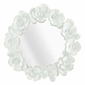 Nástenné zrkadlo v bielom ráme Mauro Ferretti Flower