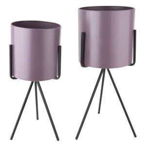 Súprava 2 fialových železných kvetináčov na podstavci PT LIVING
