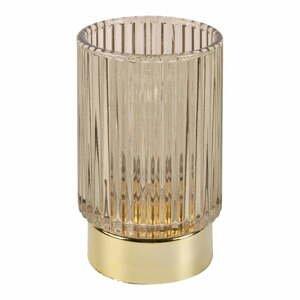 Hnedá LED sklenená stolná lampa PT LIVING Ribbed