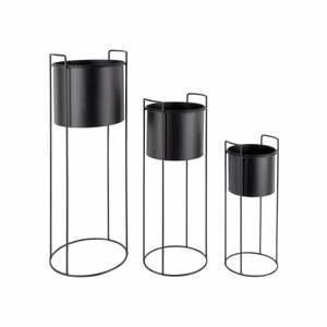 Súprava 3 čiernych železných kvetináčov na podstavci PT LIVING Essence