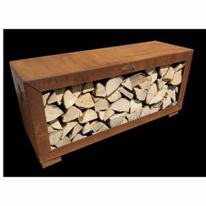 Hnedý oceľový zásobník na drevo Remundi, šírka 119 cm