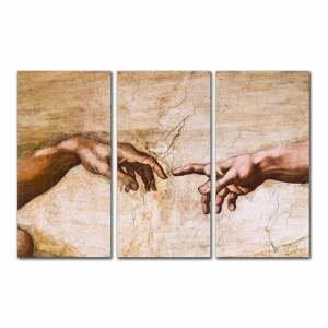 Trojdielna reprodukcia obrazu Michelangelo Buonarroti - Creation of Adam