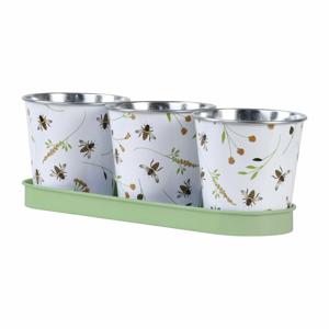 Súprava 3 kvetináčov s podložkou Esschert Design Bee, 0,55 l