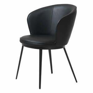 Čierna jedálenská stolička z imitácie kože Unique Furniture Gain Leath