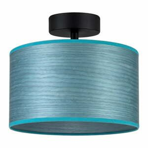 Modré stropné svietidlo z prírodnej dyhy Bulb Attack Ocho S, ⌀ 25 cm