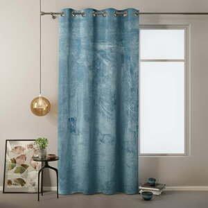 Modrý záves so zamatovým povrchom AmeliaHome Velvet, 140 x 245 cm