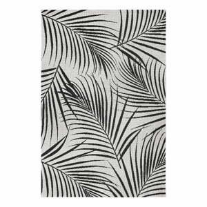 Čierno-sivý vonkajší koberec Ragami Flora, 80 x 150 cm
