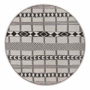Čierno-sivý vonkajší koberec Ragami Madrid, ø 120 cm