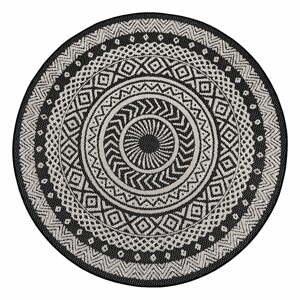 Čierno-sivý vonkajší koberec Ragami Round, ø 160 cm