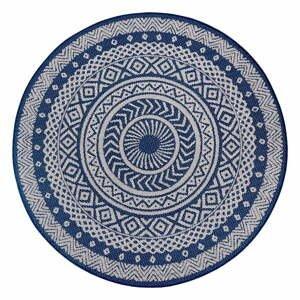 Modro-sivý vonkajší koberec Ragami Round, ø 120 cm