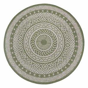 Zeleno-béžový vonkajší koberec Ragami Round, ø 120 cm