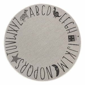 Čierno-sivý detský koberec Ragami Letters, ø 120 cm