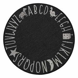 Čierny detský koberec Ragami Letters, ø 120 cm
