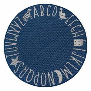 Modrý detský koberec Ragami Letters, ø 120 cm
