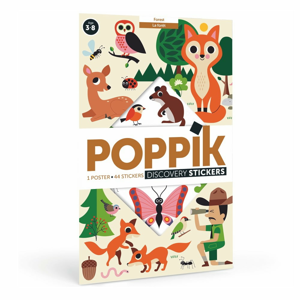 Vzdelávací samolepkový plagát Poppik Lesné zvieratá