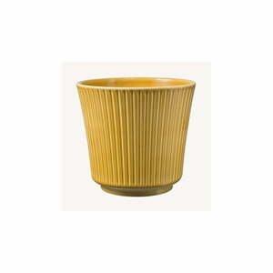 Žltý keramický kvetináč Big pots Gloss, ø 12 cm