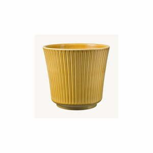 Žltý keramický kvetináč Big pots Gloss, ø 16 cm