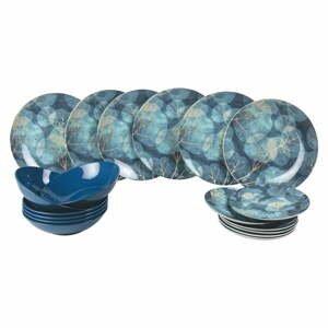 18-dielna súprava modrých tanierov z porcelánu a kameniny Villa d'Este Dream