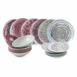 18-dielna súprava tanierov z porcelánu a kameniny Villa d'Este Aurora