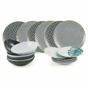 18-dielna súprava tanierov z porcelánu a kameniny Villa d'Este Urban Jungle