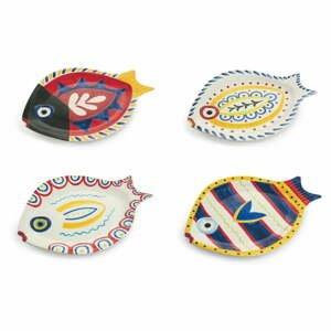 Súprava 4 dolomitových tanierov v tvare ryby Villa d'Este Sashimi Fish