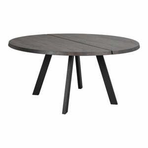 Tmavohnedý okrúhly jedálenský stôl z dubového masívu Rowico Freddie, ø 160 cm