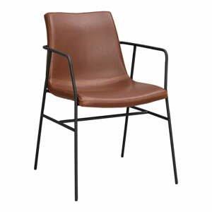 Hnedá jedálenská stolička s poťahom z umelej kože Rowico Huntington