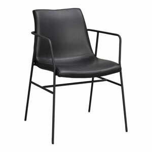 Čierna jedálenská stolička s poťahom z imitácie kože Rowico Huntington