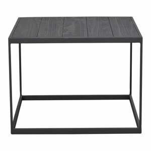 Čierny odkladací stolík s doskou z borovicového dreva Rowico Franky, 60 x 60 cm