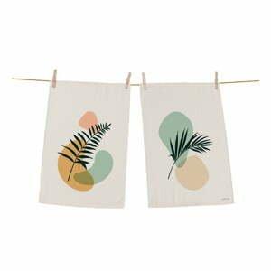 Súprava 2 bavlnených kuchynských utierok Butter Kings Botanical Art Light, 70 x 50 cm