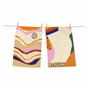 Súprava 2 bavlnených kuchynských utierok Butter Kings Abstract Landscape Simple, 70 x 50 cm