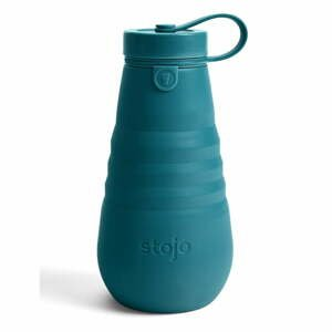 Tyrkysovomodrá skladacia fľaša Stojo Bottle Lagoon, 590 ml