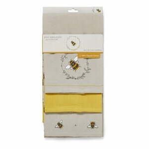 Súprava 3 béžovo-žltých bavlnených kuchynských utierok Cooksmart ® Bumble Bees