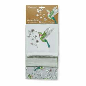 Súprava 3 sivých kuchynských bavlnených utierok Cooksmart ® Hummingbirds