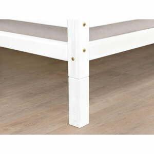Súprava 4 bielych predĺžených nôh k posteli zo smrekového dreva Benlemi, výška 10 cm