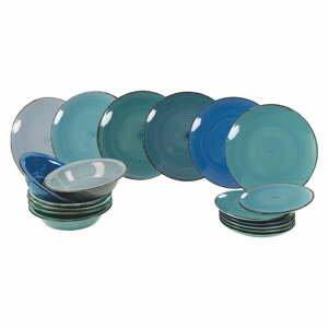 18-dielna súprava modrých kameninových tanierov Villa d'Este Ocean