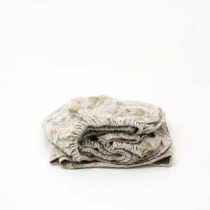 Detská béžová ľanová plachta Linen Tales Botany, 70 x 140 cm