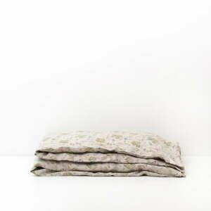 Detské béžové ľanové obliečky Linen Tales Botany, 140 x 200 cm