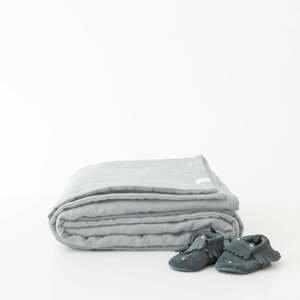 Detská sivá ľanová deka Linen Tales Naturel, 100 x 140 cm