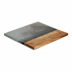 Servírovacia doska z bridlice a akáciového dreva Nkuku Fala, 35 x 35 cm