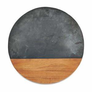 Krájacia kruhová doska z bridlice a akáciového dreva Nkuku Fala, ø 40 cm