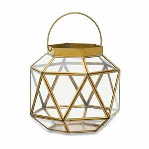 Kovovo-sklenený lampáš s detailmi z mosadze Nkuku Fiomi, výška 19,5 cm
