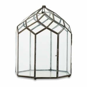 Kovovo-sklenený lampáš s čiernou konštrukciou Nkuku Zarika, výška 33 cm
