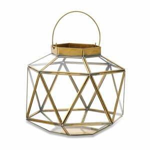 Kovovo-sklenený lampáš s detailmi z mosadze Nkuku Fiomi, výška 24 cm
