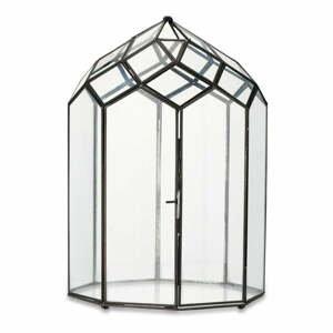 Kovovo-sklenený lampáš s čiernou konštrukciou Nkuku Zarika, výška 45 cm