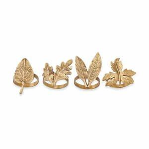 Súprava 4 spôn na obrúsky v zlatej farbe Nkuku Leaf Brass