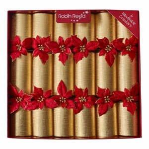 Súprava 6 vianočných crackerov Robin Reed Glitter Poinsettia