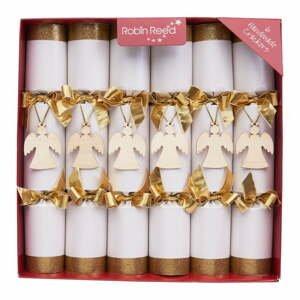 Súprava 6 vianočných crackerov Robin Reed Angel