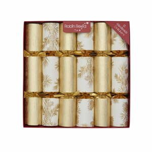 Súprava 12 vianočných crackerov Robin Reed Glitter Foliage