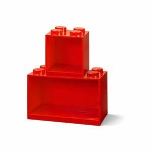 Súprava 2 detských červených nástenných políc LEGO® Brick